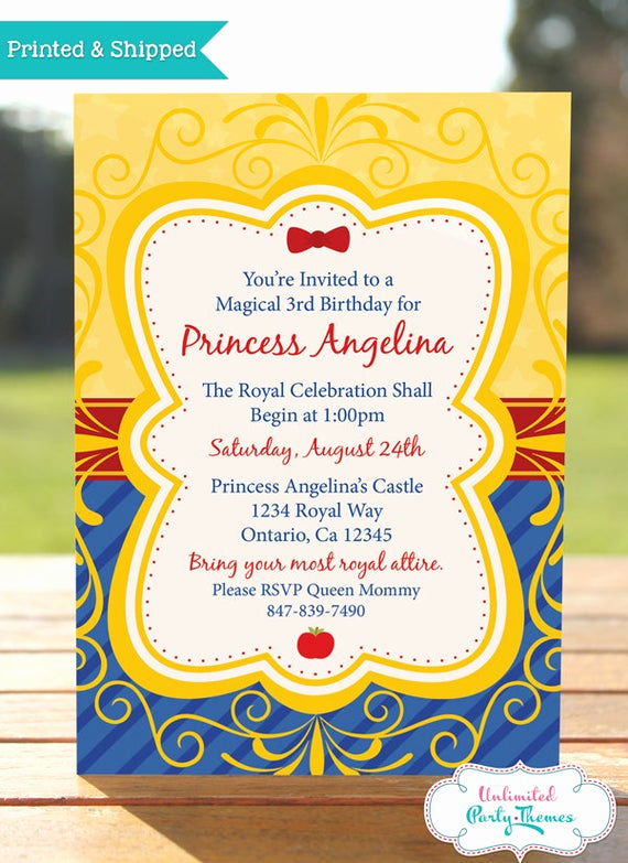 Snow White Mirror Invitation Fresh Princess Snow White Birthday Invitation by