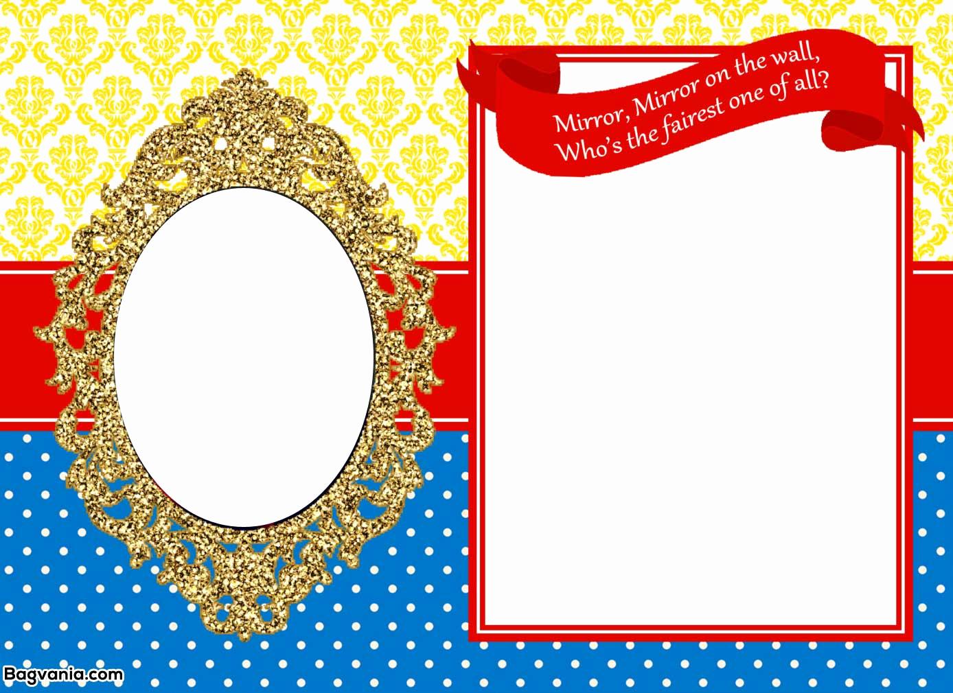 Snow White Mirror Invitation Inspirational Free Printable Snow White Birthday Invitations – Bagvania