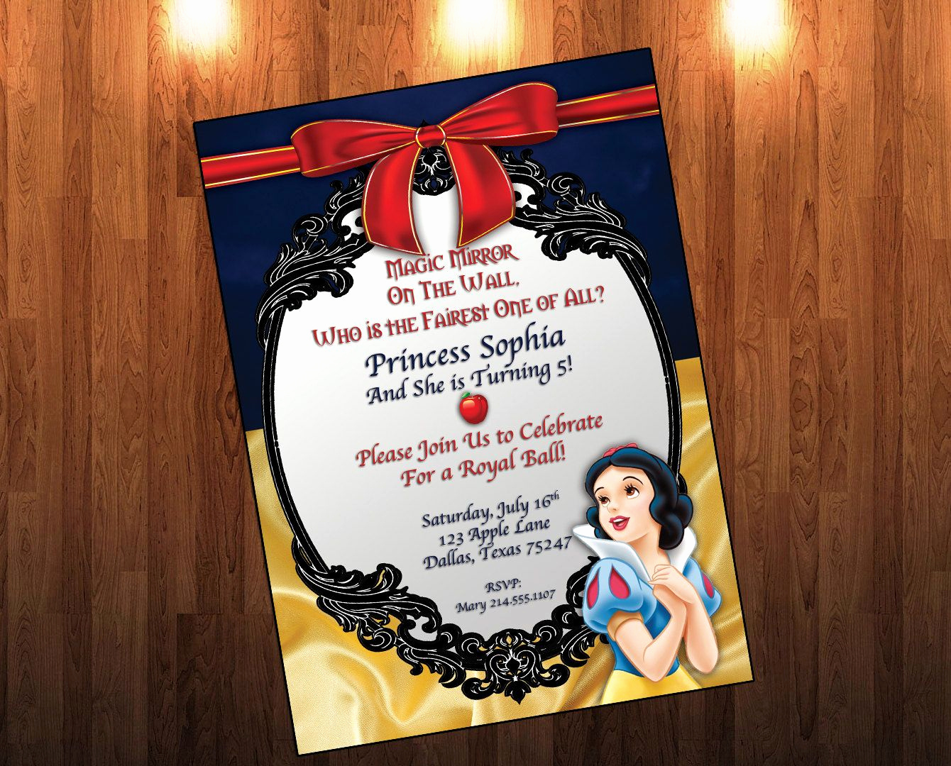 Snow White Mirror Invitation Inspirational Snow White Birthday Invitation Snow White Birthday