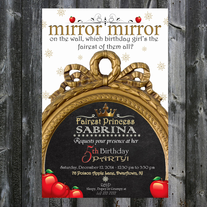 Snow White Mirror Invitation Luxury Snow White Inspired Birthday Invitation Mirror Mirror