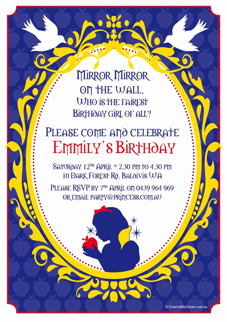 Snow White Mirror Invitation Unique 25 Best Ideas About Snow White Invitations On Pinterest
