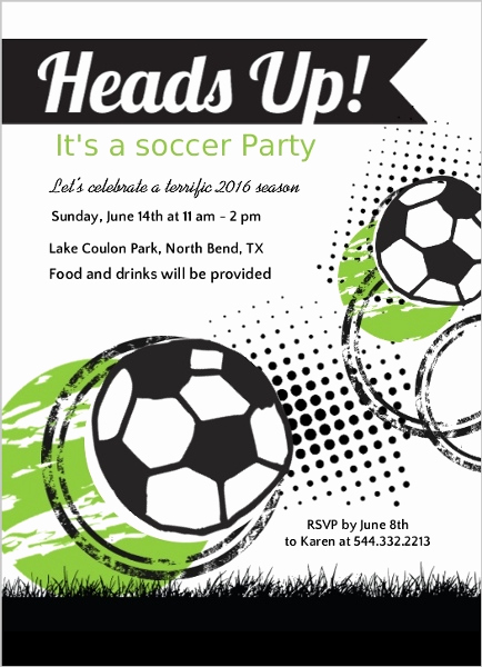Soccer Invitation Template Free Awesome Green and Black soccer Game Party Invitation