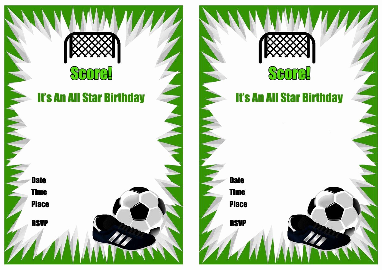 Soccer Invitation Template Free Beautiful Free Printable soccer Birthday Party Invitations