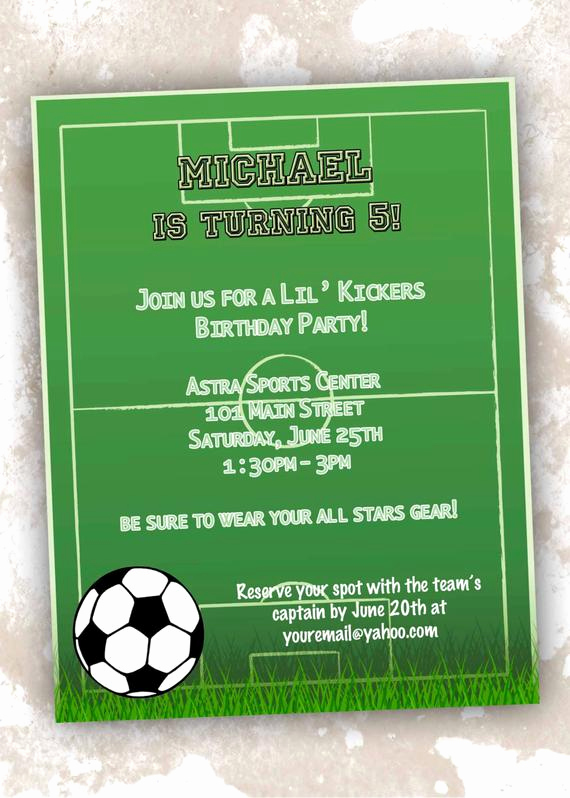 Soccer Invitation Template Free Best Of Printable soccer theme Birthday Invitations by Designsbydvb