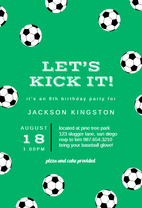 Soccer Invitation Template Free Fresh soccer Birthday Sports & Games Invitation Template Free