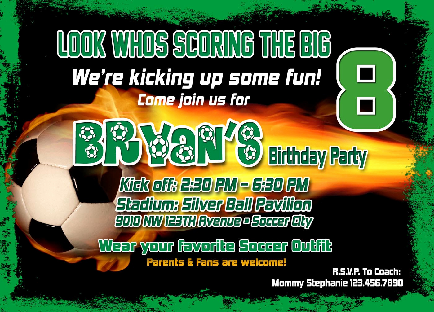 Soccer Invitation Template Free New soccer Birthday Party Invitation Template