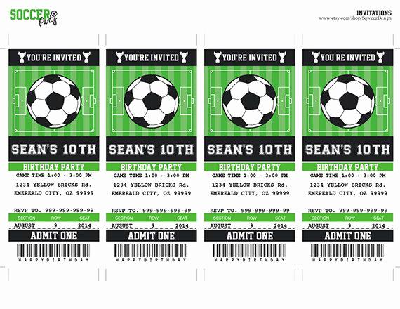 Soccer Invitation Template Free Unique Futbol Boleto Invitación Fiesta De Cumpleaños Para Por