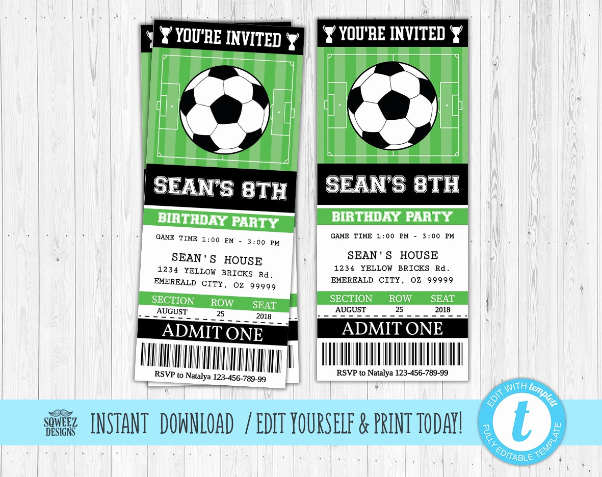 Soccer Invitation Templates Free Awesome soccer Invitation soccer Birthday soccer Party Ticket