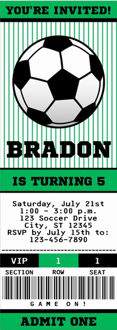 Soccer Invitation Templates Free Elegant soccer Ticket Invitation Printable Instant Download