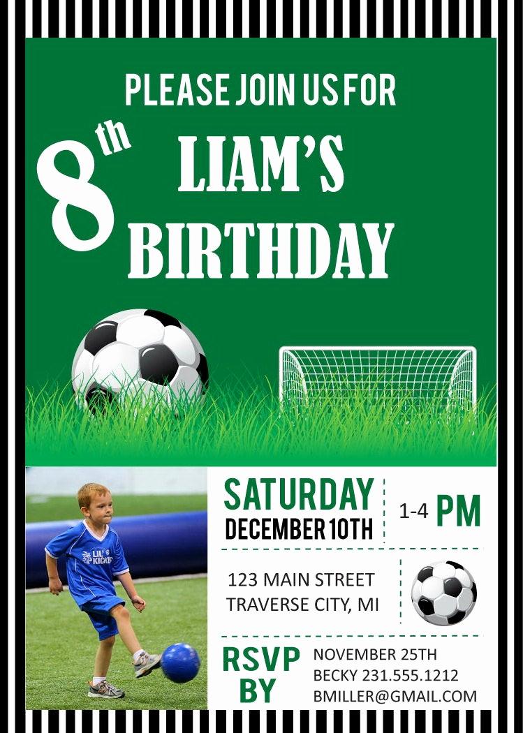 Soccer Invitation Templates Free Fresh soccer Birthday Party Invitations Digital File Diy