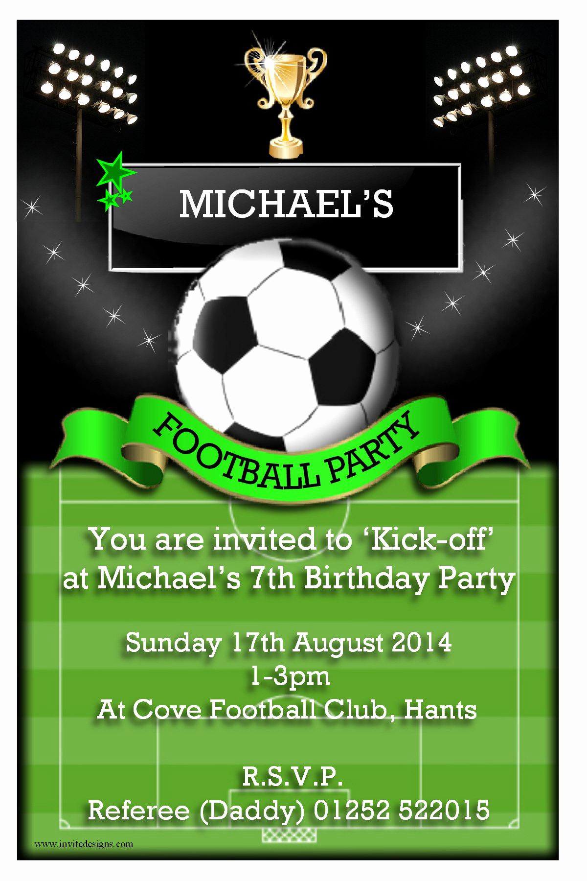 Soccer Invitation Templates Free Inspirational Football Party Invitations