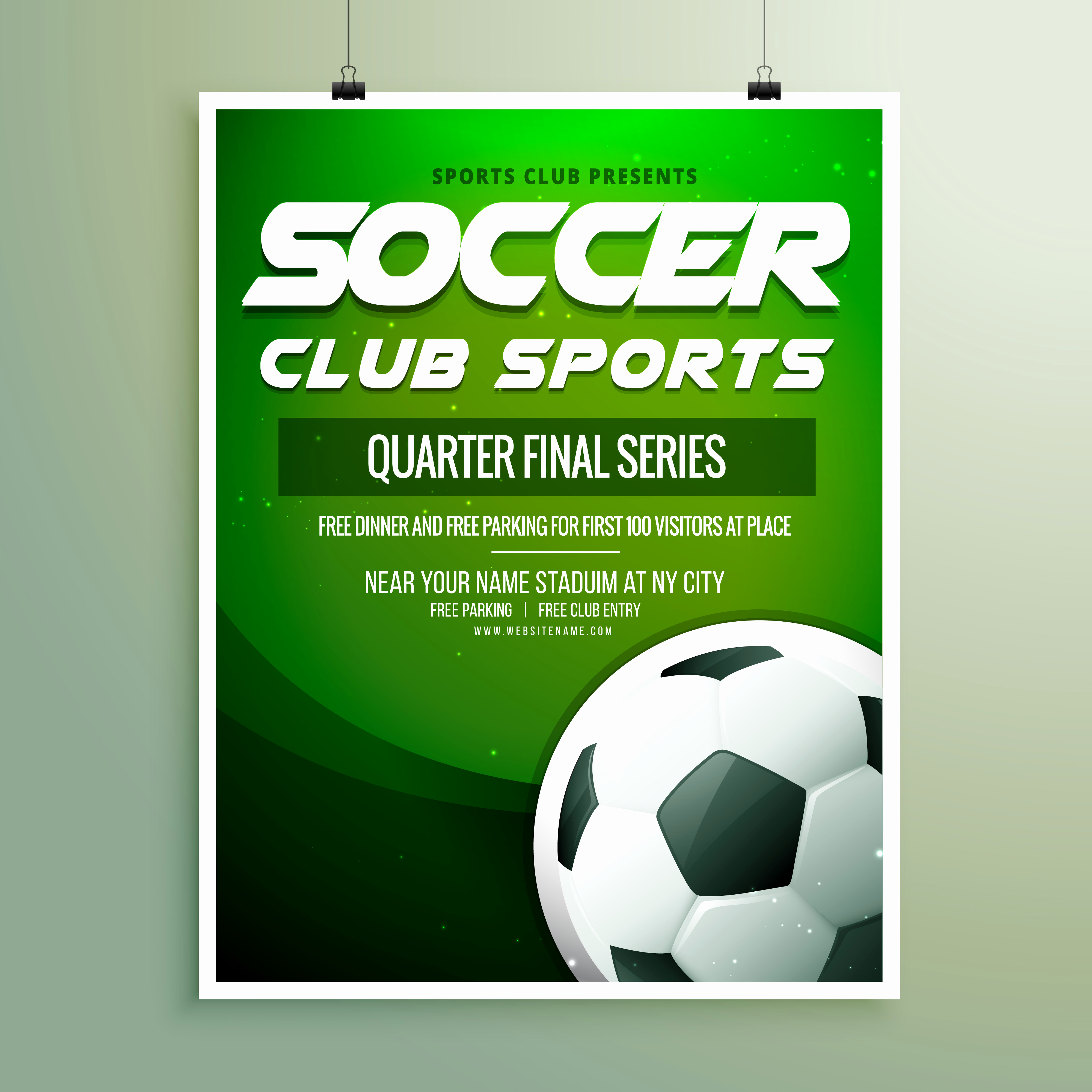 Soccer Invitation Templates Free Lovely soccer Club Sports Championship Flyer Template Download