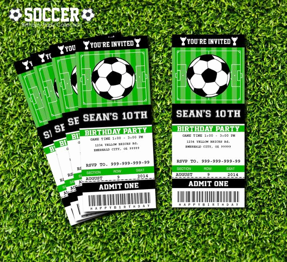 Soccer Invitation Templates Free New soccer Ticket Invitation Printable Instant Download