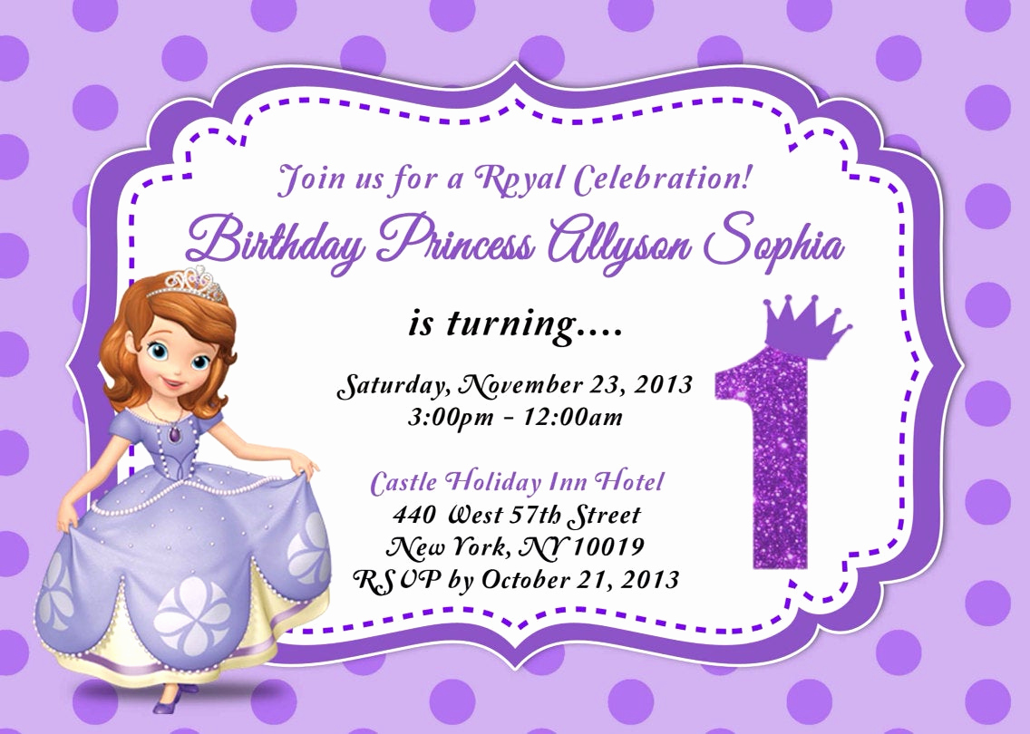 Sofia the First Invitation Awesome Custom Photo Invitations sofia the First Birthday Invitation