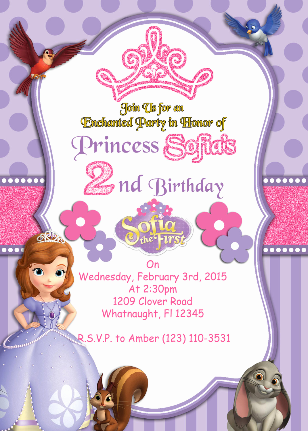 Sofia the First Invitation Awesome Print Your Own sofia the First Invitation by atom Design