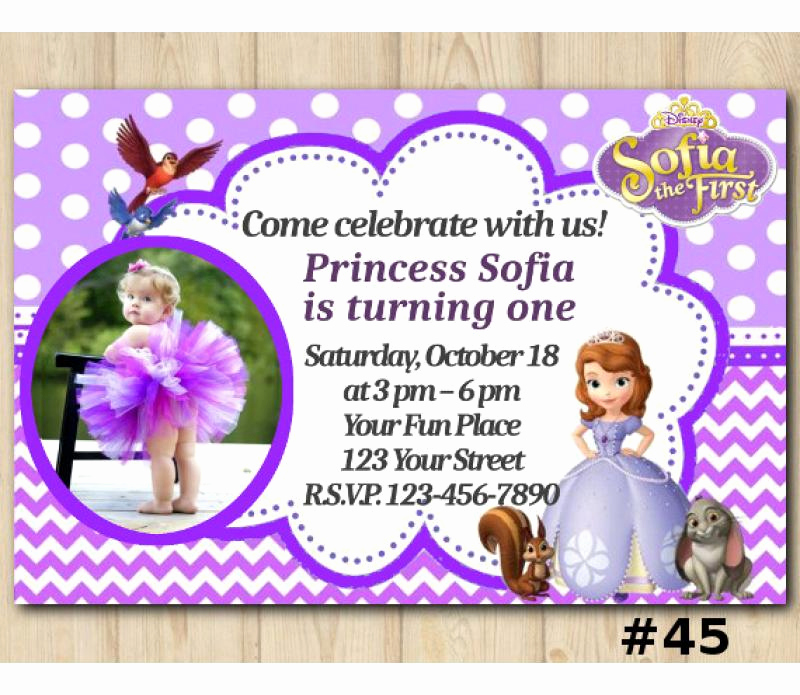 Sofia the First Invitation Elegant Disney sofia the First Birthday Invitation sofia the