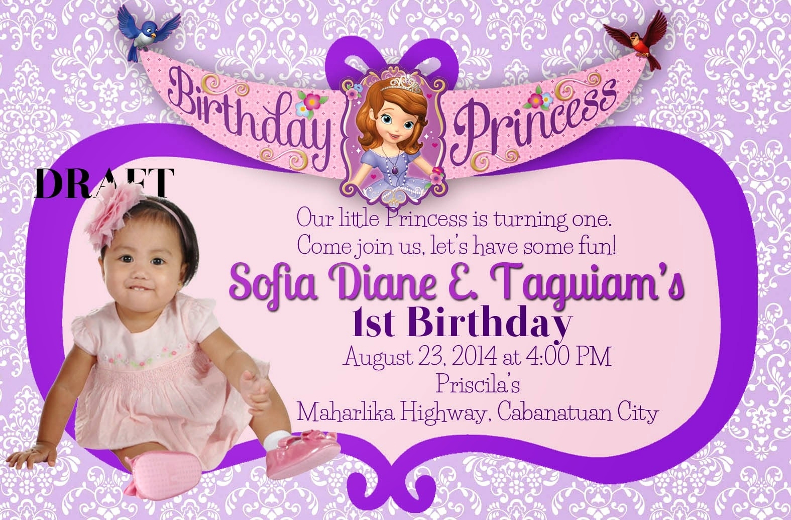 Sofia the First Invitation Elegant sofia the First Invitation Wording Cobypic