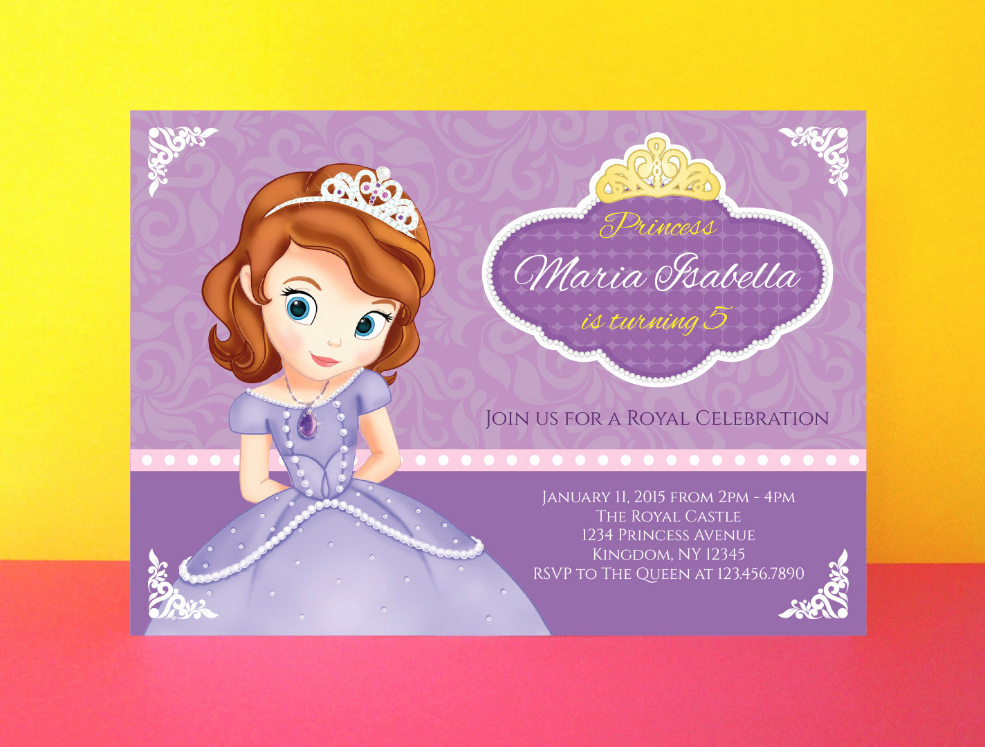Sofia the First Invitation Fresh Princess sofia Invitation sofia the First by Paperpartydesign