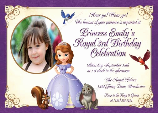 Sofia the First Invitation Inspirational Personalized Printable Invitations