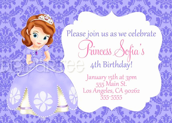 Sofia the First Invitation New sofia the First Birthday Invitations by Dpdesigns2012 On Etsy