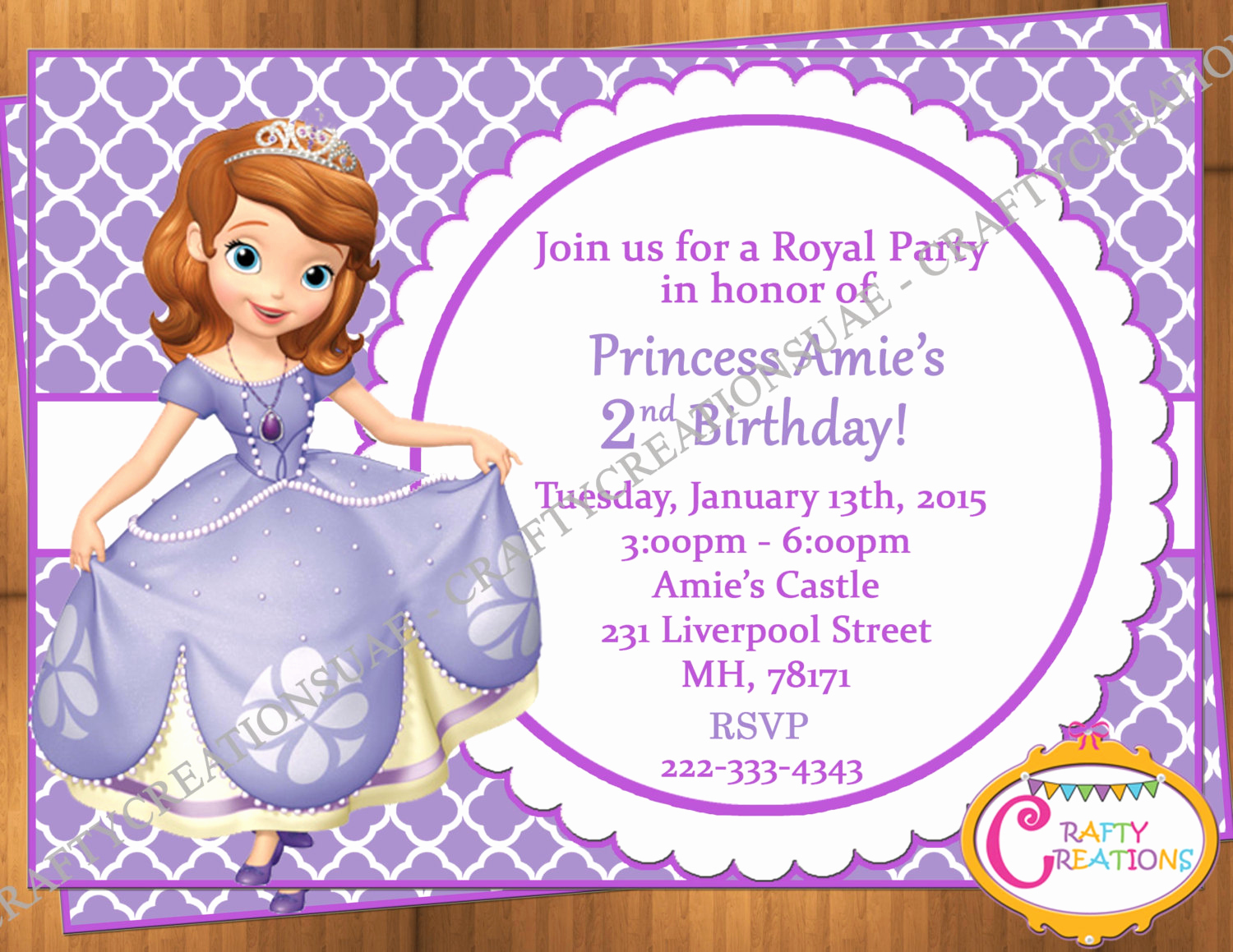 Sofia the First Invitation New sofia the First Invitation Princess sofia Birthday Party