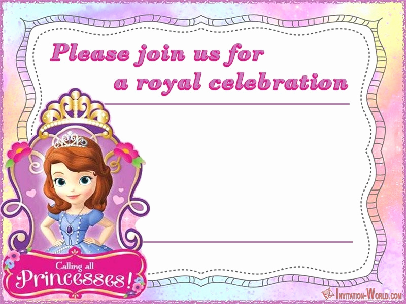 Sofia the First Invitation Template Awesome sofia the First Free Line Invitation Templates