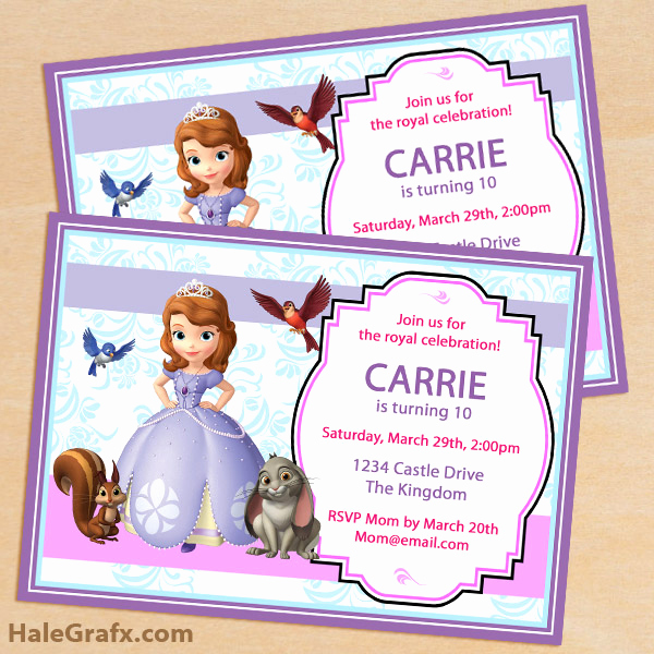 Sofia the First Invitation Template Best Of Free Printable sofia the First Birthday Invitation Pack