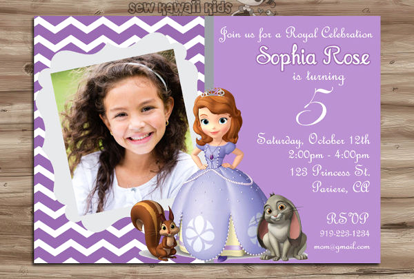 Sofia the First Invitation Template Elegant 11 Disney Invitation Templates Free Sample Example