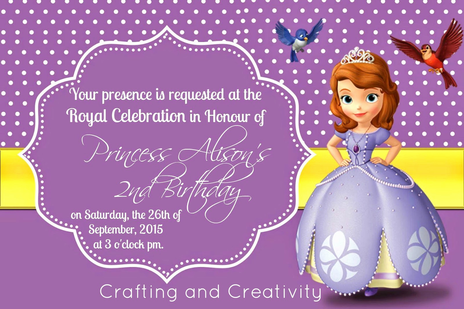 Sofia the First Invitation Template Elegant Crafting and Creativity My Daughter S 2nd Birthday Party