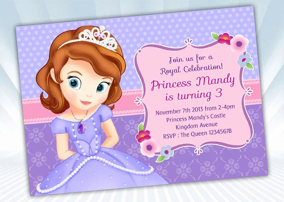 Sofia the First Invitation Template Elegant Digipartyshoppe