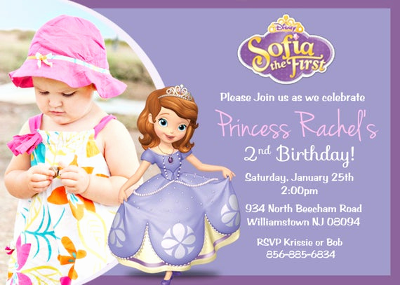 Sofia the First Invitation Template Fresh Items Similar to sofia the First Birthday Party Invitation