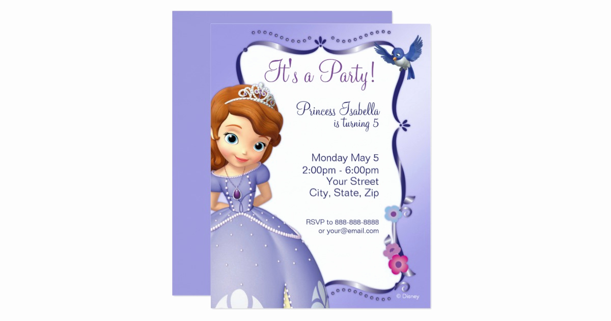 Sofia the First Invitation Template Inspirational sofia the First Birthday Invitation