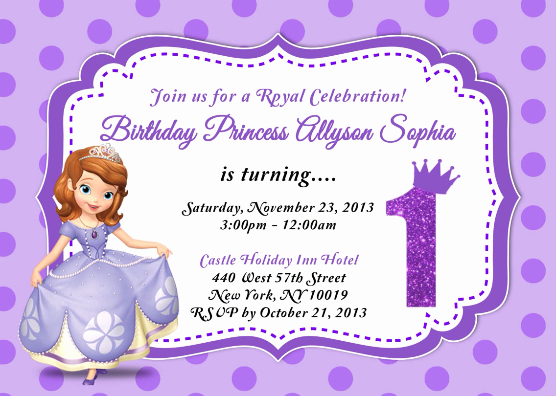 Sofia the First Invitation Template Lovely Custom Photo Invitations sofia the First Birthday Invitation