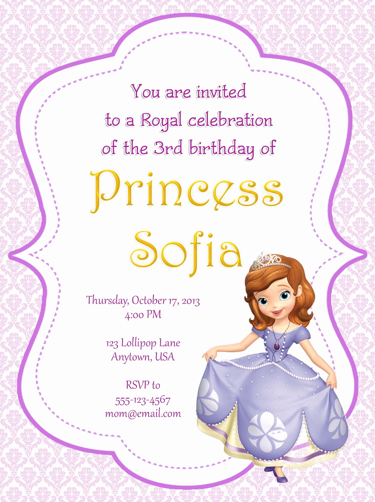 Sofia the First Invitation Template Luxury I Make I August 2013