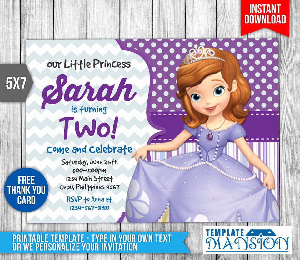 Sofia the First Invitation Template Luxury sofia the First Invitation Invite Template Psd by