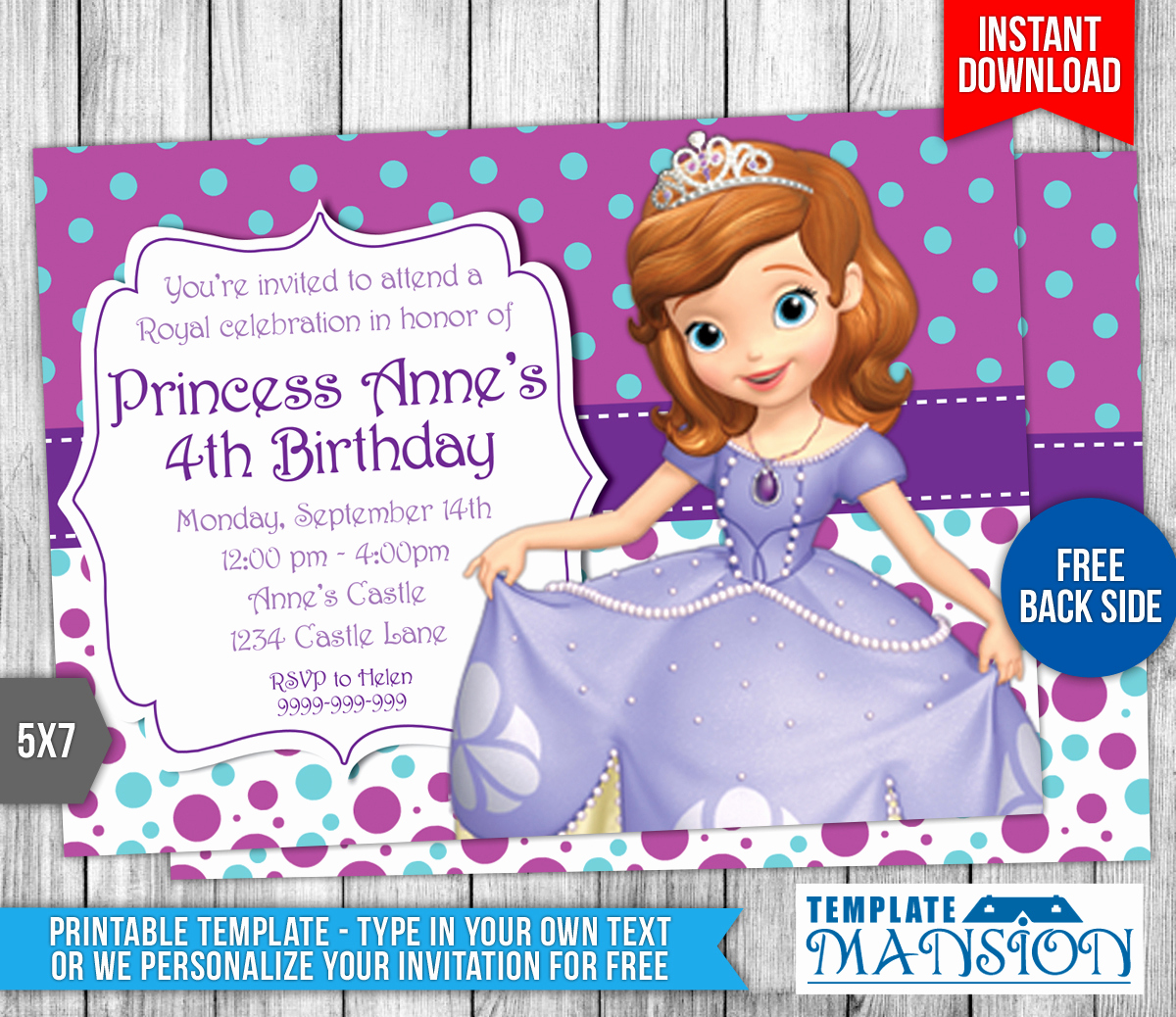 Sofia the First Invitation Template New sofia the First Birthday Invitation 4 by Templatemansion