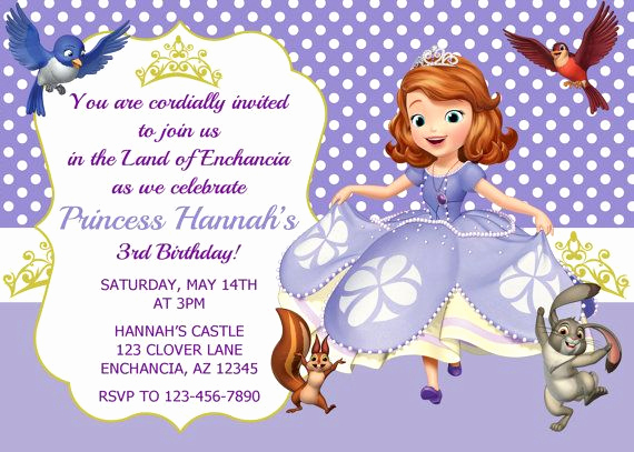 princess sofia invitations