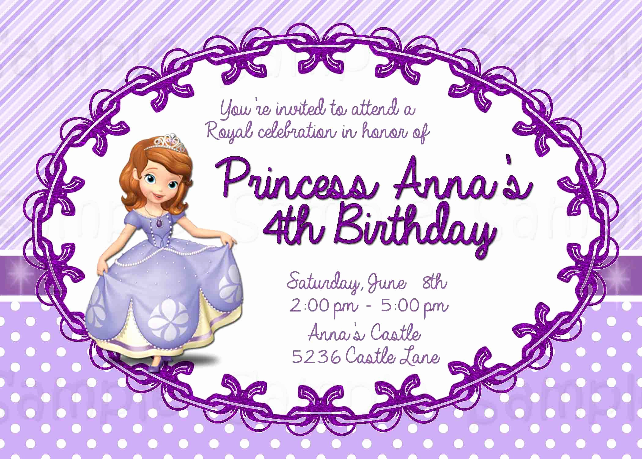 Sofia the First Invitation Template Unique Custom Birthday Invitations Online