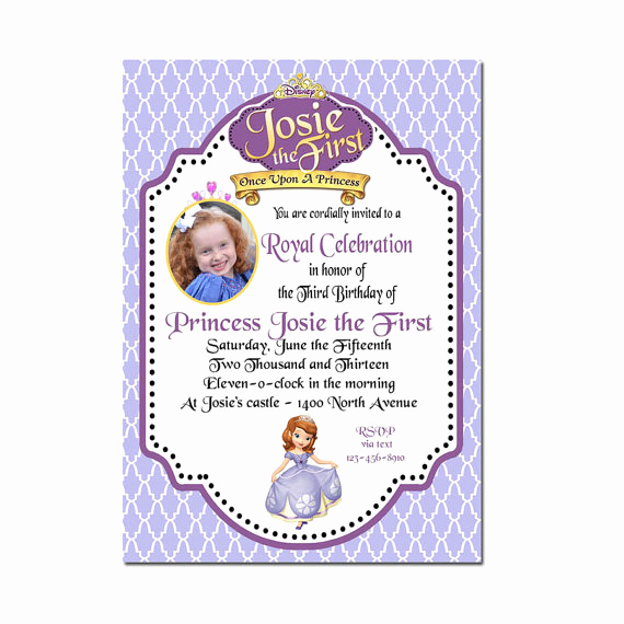 Sofia the First Invitation Template Unique Items Similar to sofia the First Invitation sofia the