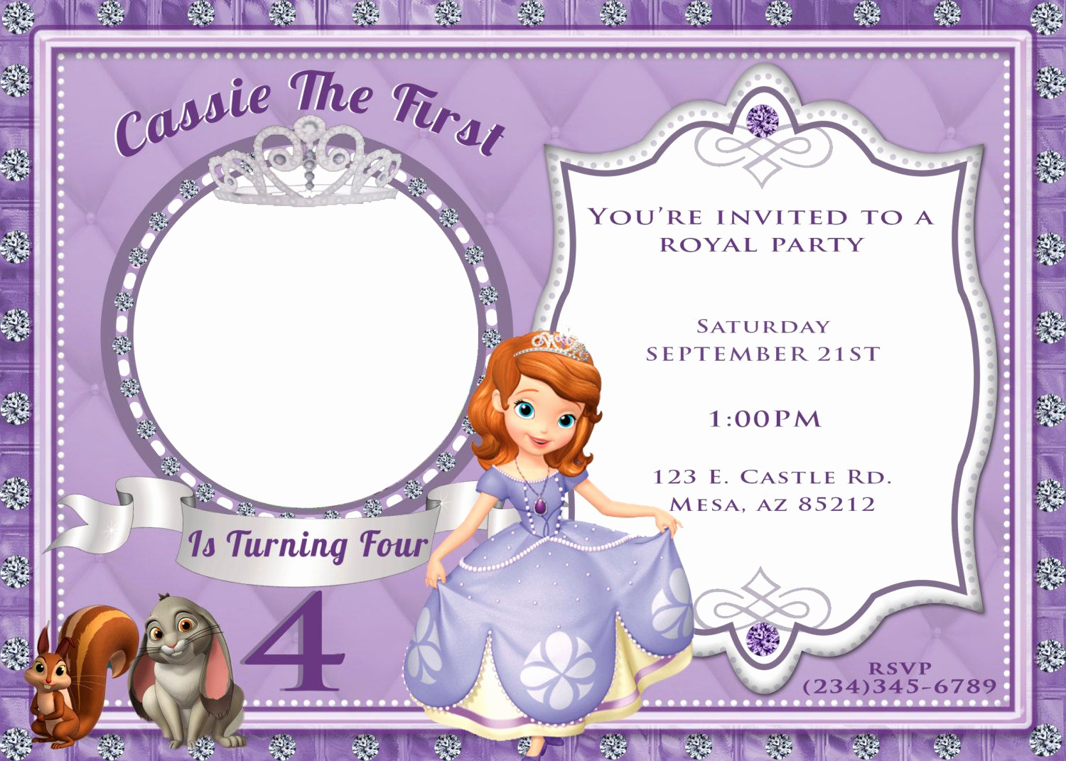 Sofia the First Invitation Template Unique sofia the First Invitation by 4evrdesignsbykristyn On Etsy