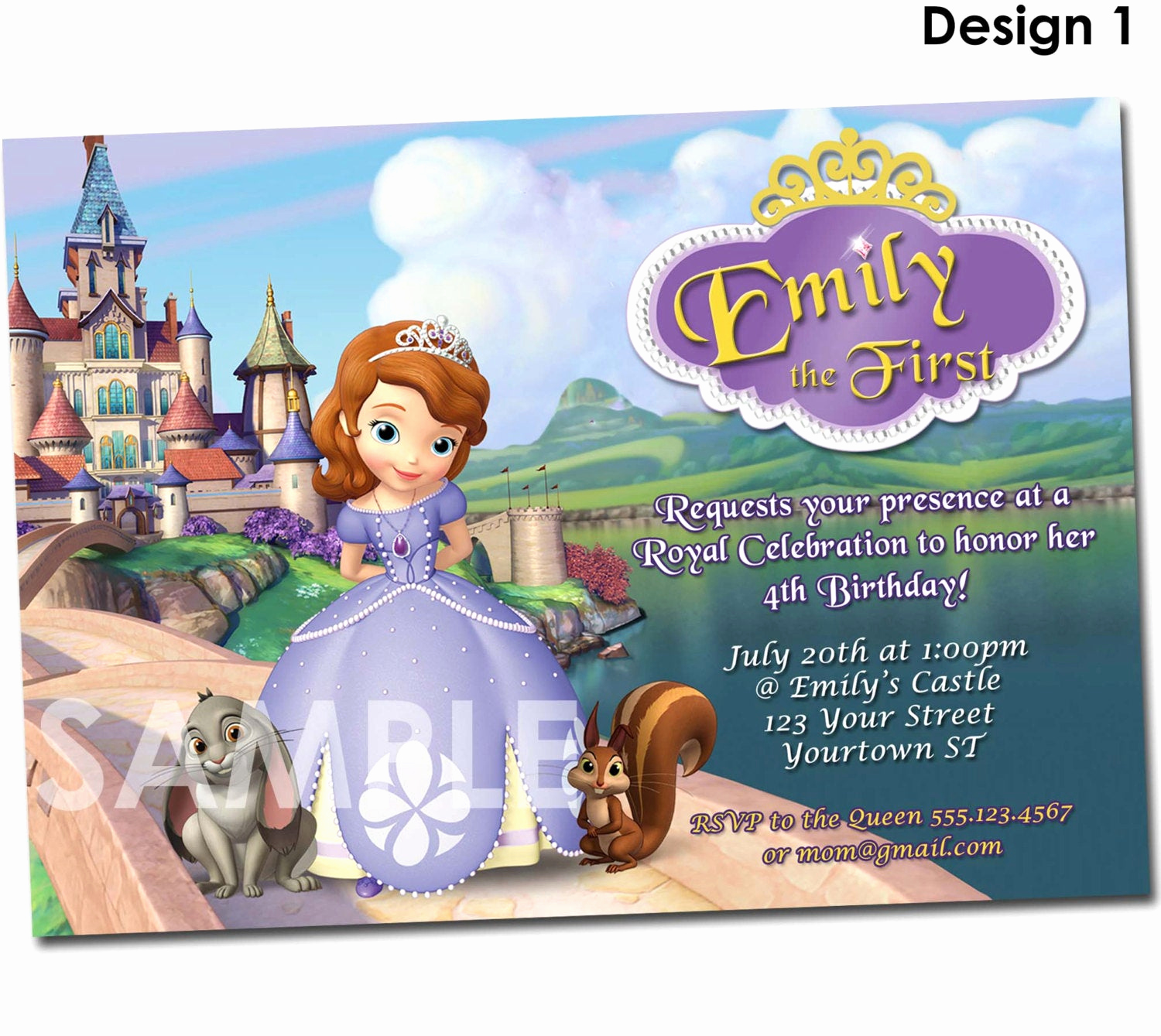 Sofia the First Invitation Template Unique sofia the First Invitation Printable Birthday Party Invite