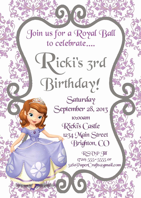 Sofia the First Invitation Templates Awesome 1000 Ideas About Princess sofia Invitations On Pinterest