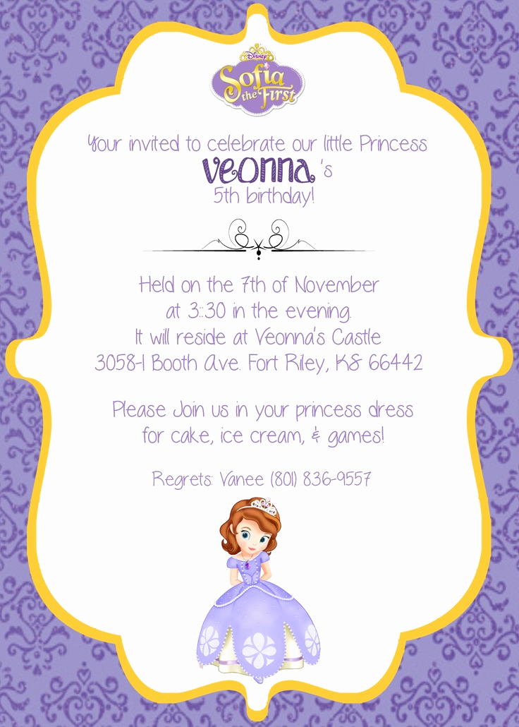 Sofia the First Invitation Templates Awesome 1000 Images About sofia the First Party Ideas On Pinterest