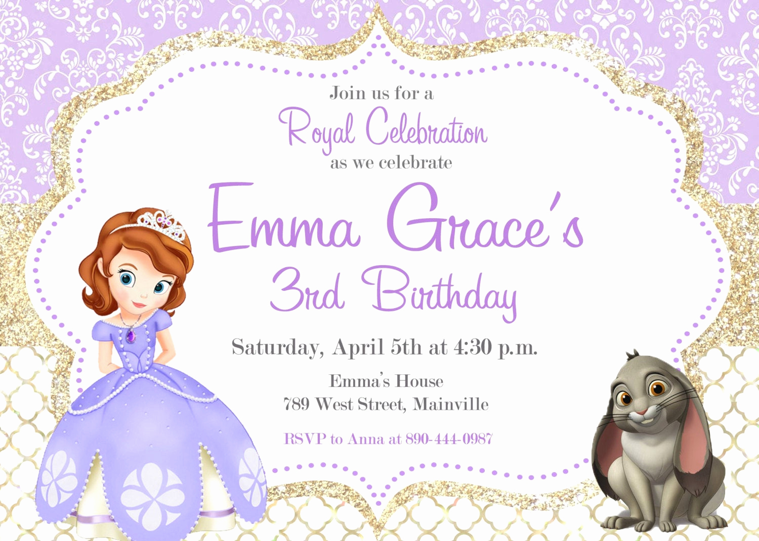 Sofia the First Invitation Templates Best Of sofia the First Birthday Party Invitation Digital or