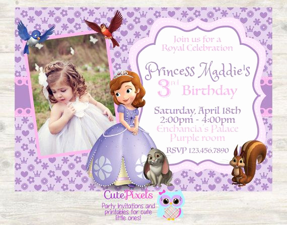 Sofia the First Invitation Templates Best Of sofia the First Invitation Princess sofia the First by
