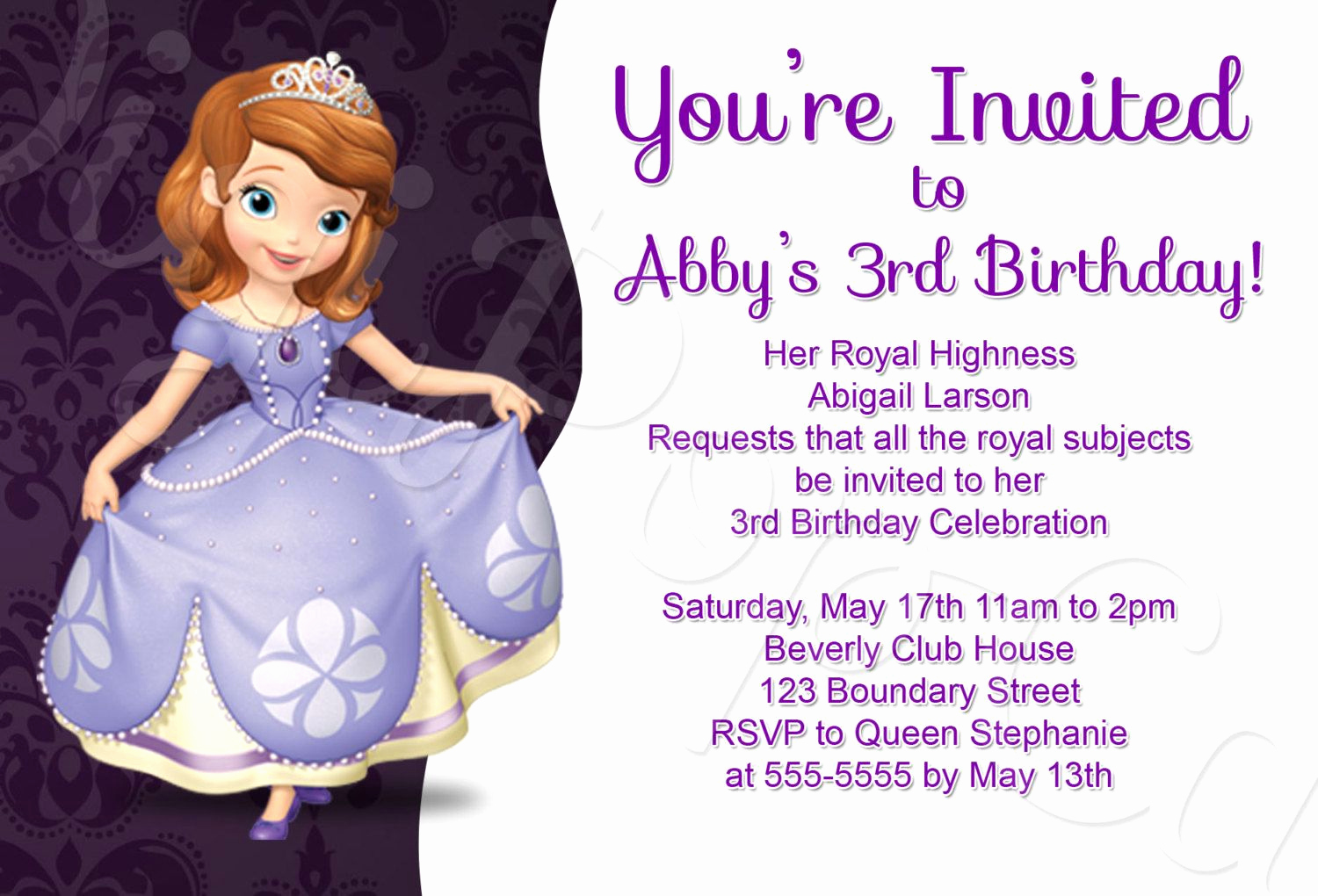 Sofia the First Invitation Templates Elegant Princess sofia Birthday Invitation Template Invitation