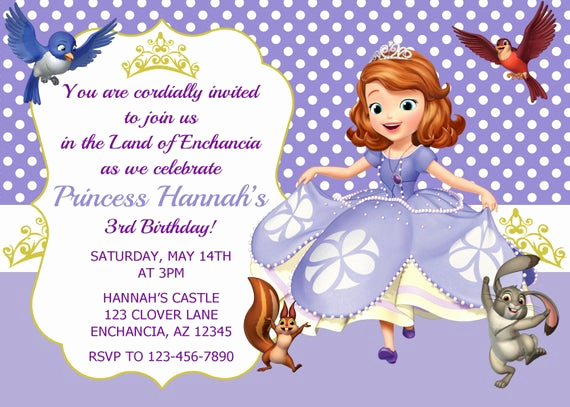 Sofia the First Invitation Templates Elegant sofia the First Invitation Princess sofia Invitation