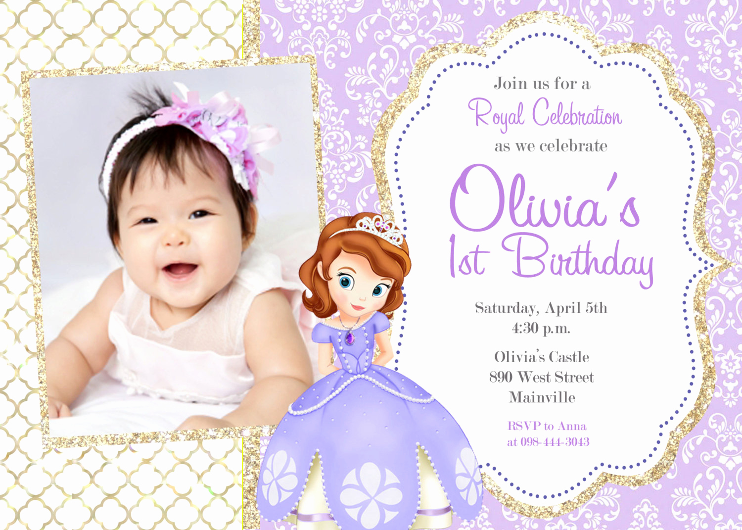 Sofia the First Invitation Templates Inspirational sofia the First Birthday Party Invitation Digital File