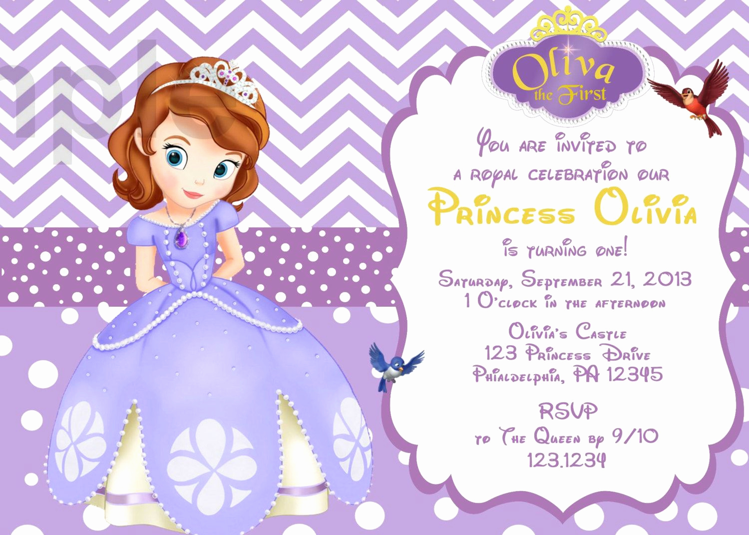 Sofia the First Invitation Templates Lovely Il Fullxfull 3ct1 1500×1071