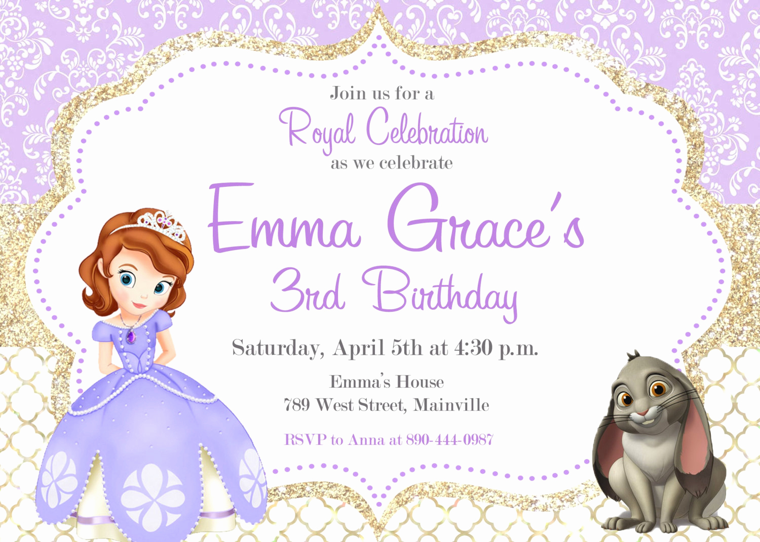 Sofia the First Invitation Templates New sofia the First Birthday Party Invitation Digital or Printed